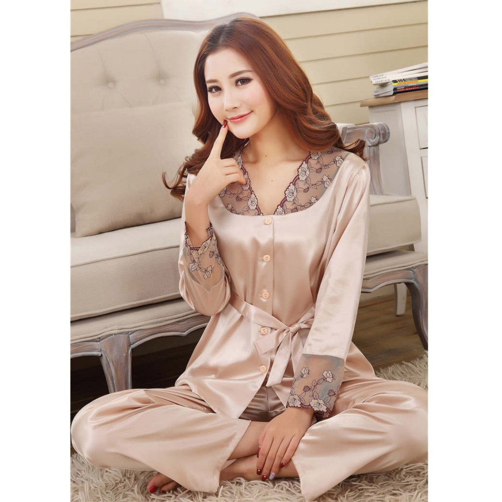 2 PCs Women Satin Silk Sexy Lace Long Sleeve Casual Nightwear Sleepwear   Pajama     Set   Women Nightgowns pyjama femme T7