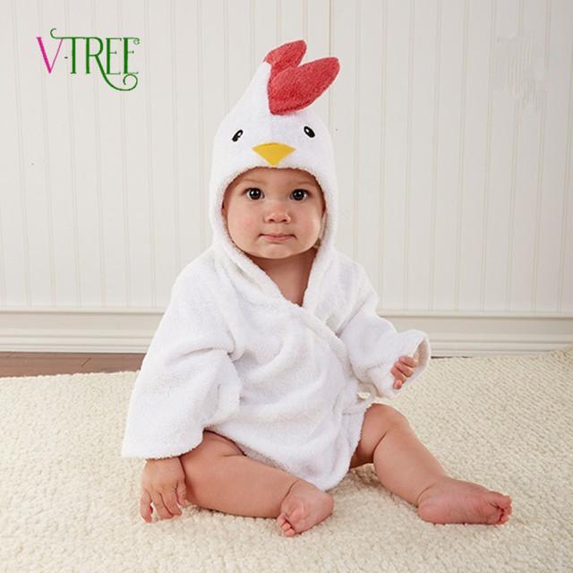 Robes Albornoz Unisex del Bebé de Los Niños de Dibujos Animados Bebé Albornoz Toalla de Algodón Babys Ropa de Dormir Dinosaurio/Little Sun/pollo/león