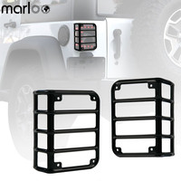 Marloo Pair For 2007 2017 Jeep Wrangler JK Unlimited Black Light Guard For Rear Taillights Tail
