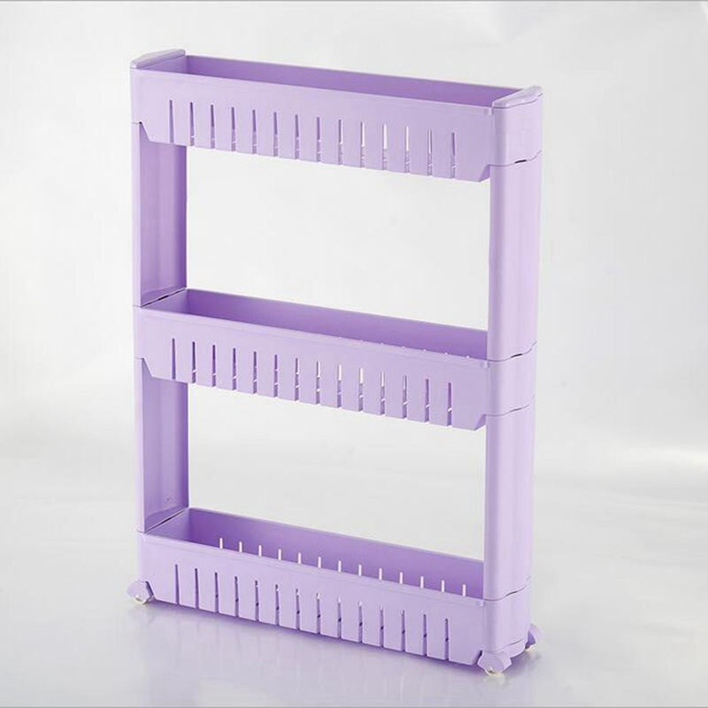 HOT-Gap Storage Shelf For Kitchen Storage Skating Movable Plastic Bathroom Shelf Save Space 3 layers High Quality(China)