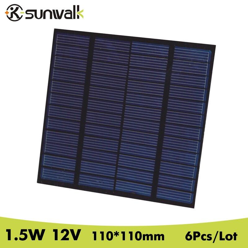 SUNWALK 6pcs 12V 1.5W Polycrystalline Solar Panel Cell Module 125mA Solar Panel Battery 12V Charging for 9V Battery 110*110mm