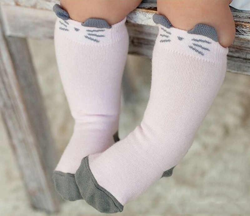 Unisex 아기 양말 층 귀여운 유아 코 튼 인쇄 귀여운 고양이 anti-slip 부드러운 무릎 양말 슬리퍼 아이 겨울 양말 t0176