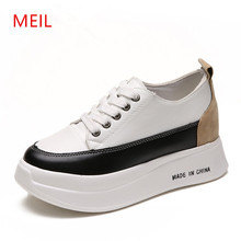 MEIL 2018 Leather platform shoes bottom Casual women round toe Vintage oxford for pumps boots