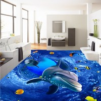 Free Shipping Custom 3D HD marine world dolphin floor painting paste office studio lobby self adhesive floor wallpaper mural