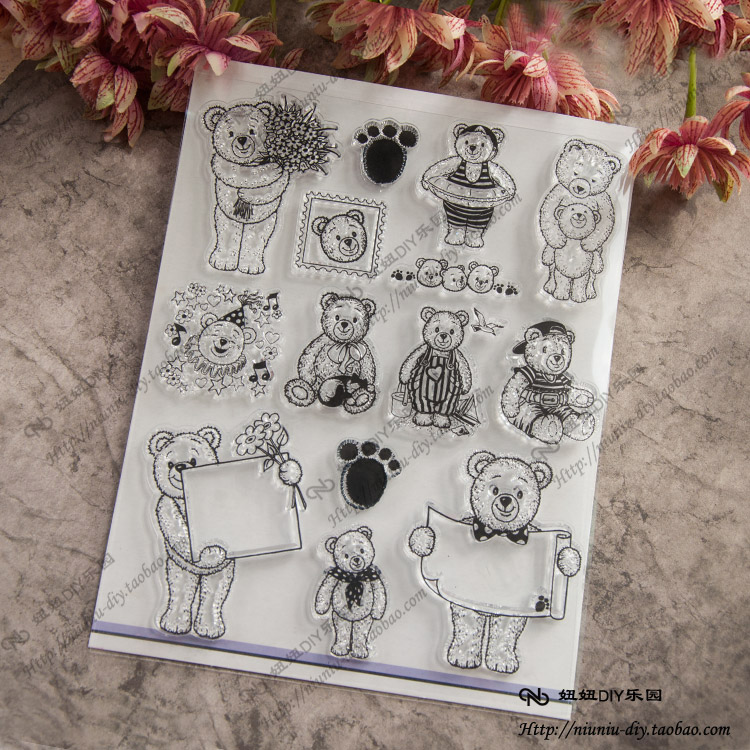 Animal Bear Scrapbook DIY photo cards account rubber stamp clear stamp transparent seal chapter school Kid Christmas gift купить