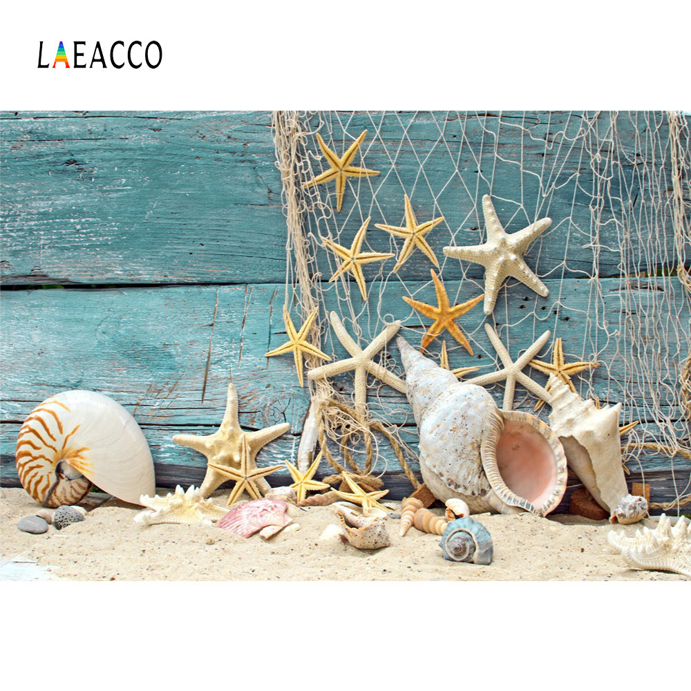 Laeacco Starfish Shell Wooden Boards Scene Baby Portrait Photography Backgrounds Custom Photographic Backdrops For Photo Studio