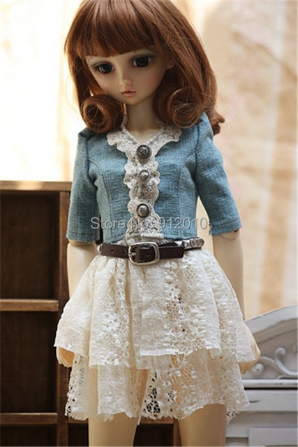 Fashion BJD Doll Jeans Lace Match Dress for Bjd doll 1/4 MSD,1/3,SD10 SD13,SD16 Luts DOD,SD Doll Clothes CW55