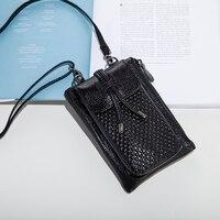 Mobile Phone Mini Bags Small Shoulder Bag Split Cow Leather Crossbody 2017 Women Handbag Black