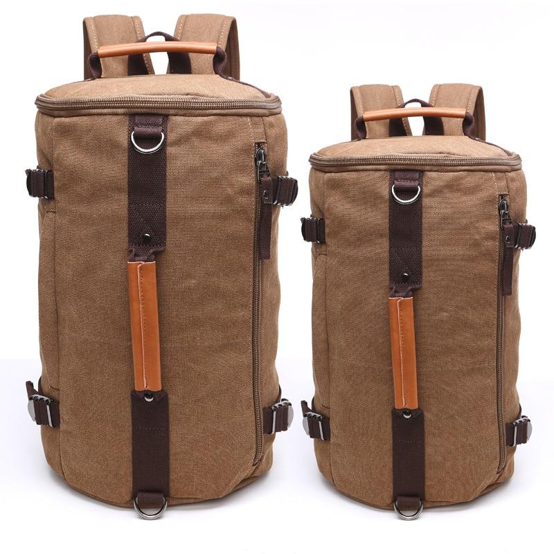 Large Capacity Men Canvas Backpack Mochila Travel Luggage Backpack Bucket Shoulder Bag Mountaineering Versatile Backpack цены