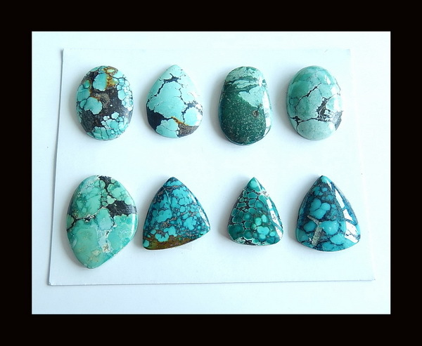 8 PCS Of Natural Turquoise Cabochons,28x21x4/21x17x5mm,25.86g8 PCS Of Natural Turquoise Cabochons,28x21x4/21x17x5mm,25.86g