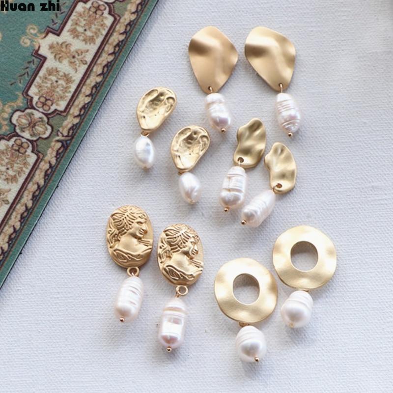 HUANZHI Baroque Simple Gold Matte Metal Human Head Face Body Irregular Natural Freshwater Pearl Earrings for Women Girl