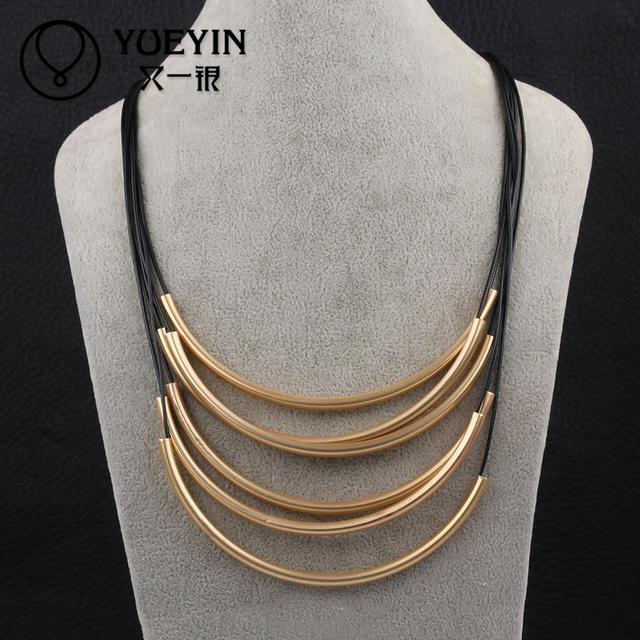 2015 N015 Cuero Cadena de metal Collares largos Para las mujeres ... 915b37d8e8ce