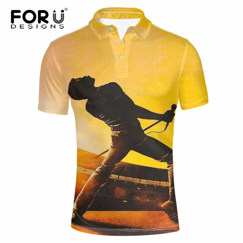 FORUDESIGNS Men   Polo   Shirt Queen Band Pattern Casual Short Sleeve Male Brands Fashion Cool Street Clothes Summer Plus Shirt 3XL