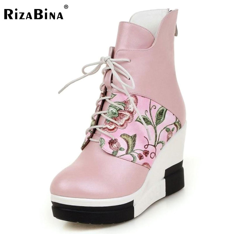RizaBina Size 33-40 Ladies High Heel Wedges Mid Calf Boots Women Thick Platform Floral Cross Tied Boots Women Winter Warm Botas new arrival superstar genuine leather chelsea boots women round toe solid thick heel runway model nude zipper mid calf boots l63