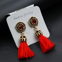 E0187 Vintage Crystal Earring Exquisite Handmade Red Black Gray Tassel Earring For Women Fashion Wedding Party Jewelry Wholesale 3