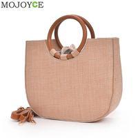 Simple Women Round Handle Handbag Brand Designer Straw Shoulder Bag 2018 Summer Beach Travel Tote Handbag