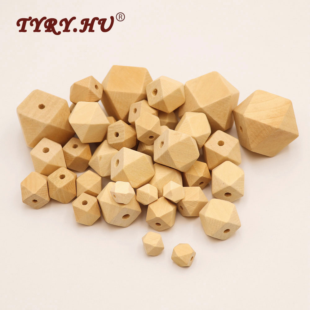 TYRY.HU 50Pcs Natural Wood Hexagon Beads  DIY Crafts Necklace Baby Teether Care Wooden Chewable Toys Gift Size for You Choose