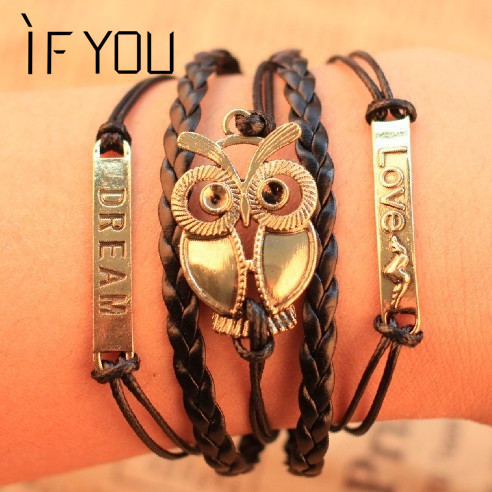 Free shipping Personality Elegant Exaggeration Simple Fashion Punk Love Dream owl Multilayer Leather Bracelet women 2014 PT36