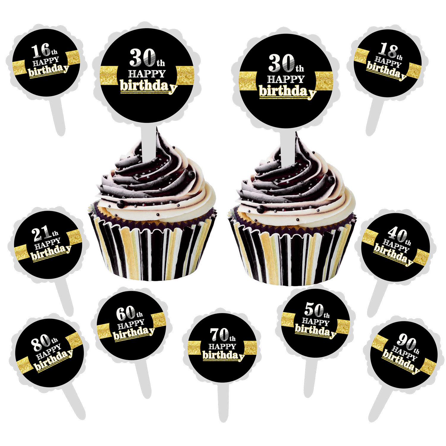 Detail Feedback Questions About 6pcs Set Black Gold Happy Birthday Cake Topper 18 21 30 40 50 60 Years Old Cupcake Stickers For Anniversary DIY Party