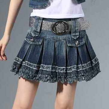 Aliexpress.com : Buy Vintage College Style Pleated Short denim ...