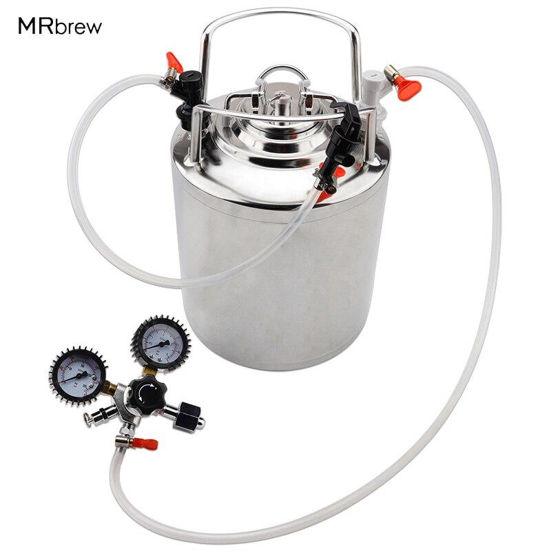2.5 galão Cornelius 10L barril de cerveja do aço Inoxidável & Torneira Tubulação Kit & Co2 kit Regulador de Cerveja cerveja