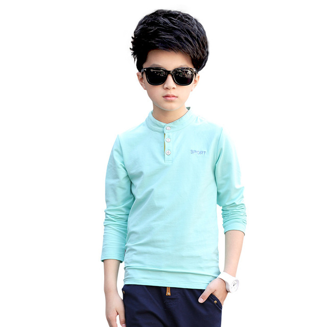 New 2017 Spring Fashion Boys Shirts Casual Solid Long Sleeve Cotton Children Clothing Mandarin Collar Kids Tees Clothes Hot Sell