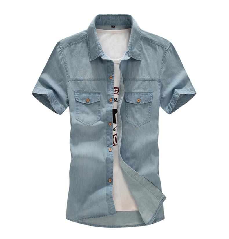New Men's Denim Shirts Men Wear Loose Big Yards Short Sleeves Cotton Shirt Men Plus Size XL L-4XL 5XL 6XL 7XL 8XL 5z 6