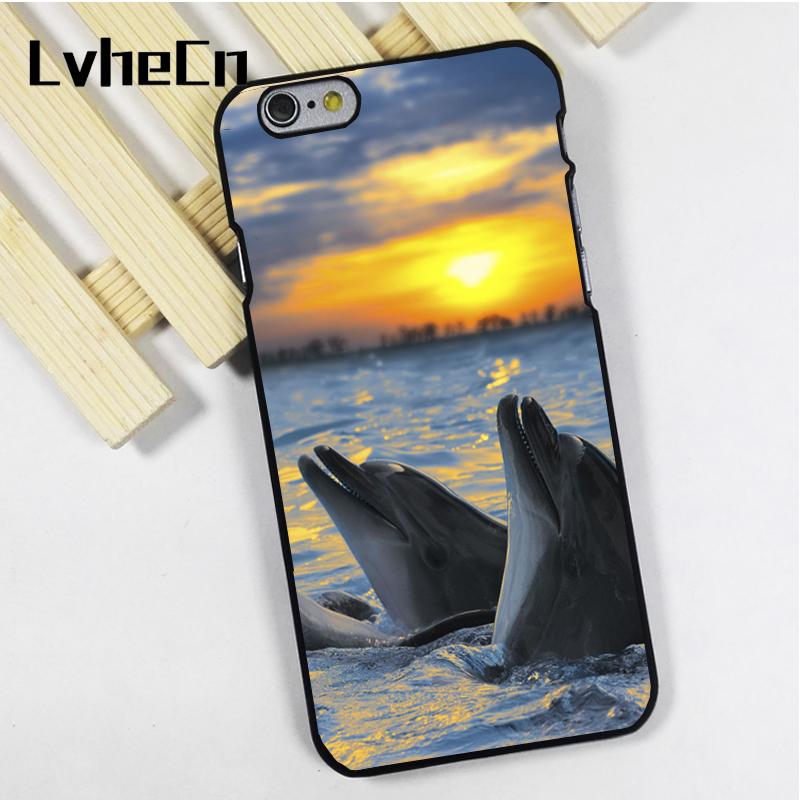 LvheCn phone case cover fit for iPhone 4 4s 5 5s 5c SE 6 6s 7 8 plus X ipod touch 4 5 6 Dolphins Ocean Sunset