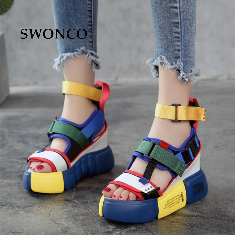10fda9f62a SWONCO Women's Sandals 2019 Summer High Heels Sandals For Women Chunky Sandal  Womens Wedge Platform Shoes