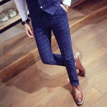 лучшая цена Suit trousers men's fashion plaid casual suit trousers men's tight plaid feet casual trousers men's casual slim suit trousers