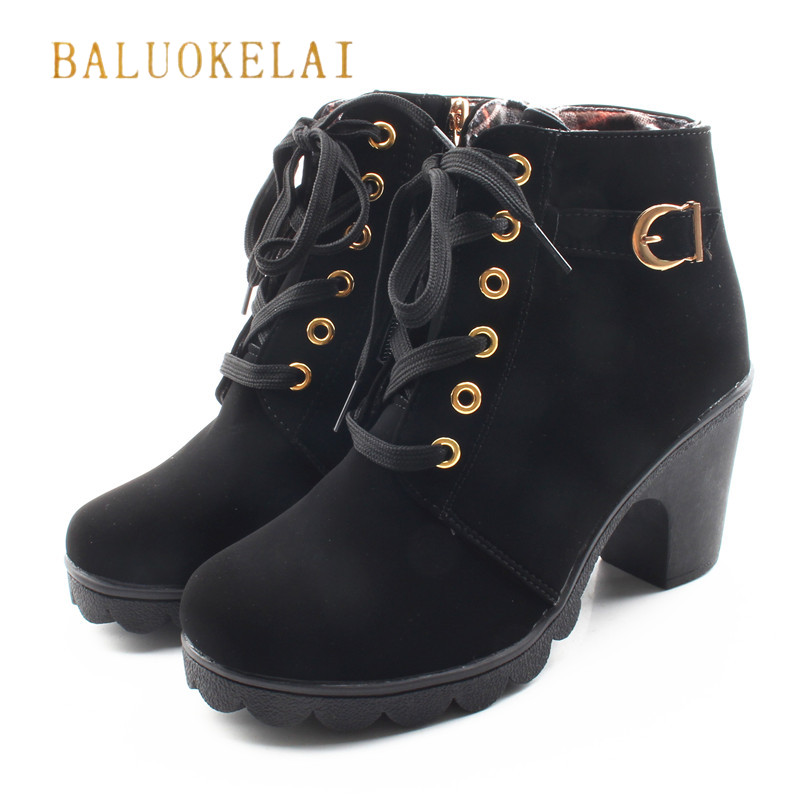 Fashion Brown Boots Women Autumn Winter Lace-up Flock Shoes Woman Party Ankle Boots High Heels Motorcycle Boots K-137 2017 new women boots ankle boots high heels autumn autumn winter boots women shoes woman brown