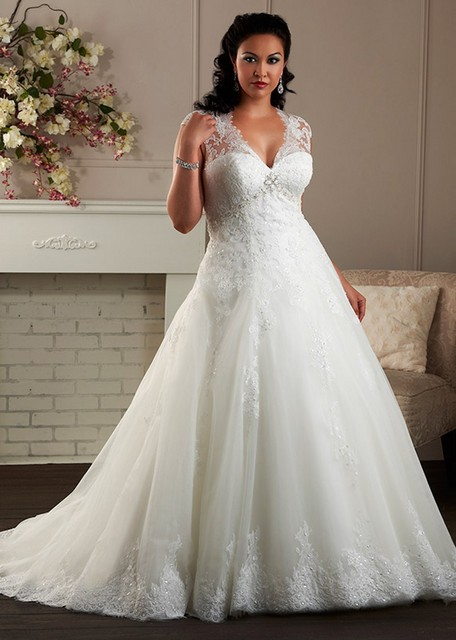b19aeac125b A Line Cap Sleeve Plus Size Wedding Dress Plunging Neckline Big Women  Vestido De Noiva With Appliques Lace2016