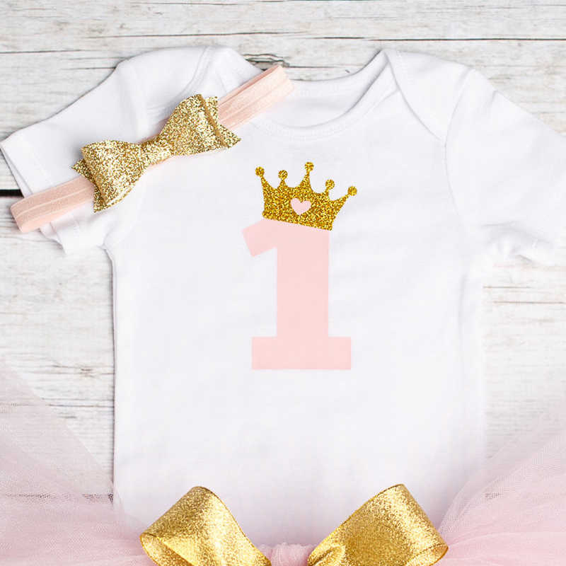Baby First Birthday Outfits Mini Tutu 1 Year Party Toddler Christening Gown Kids Dress For