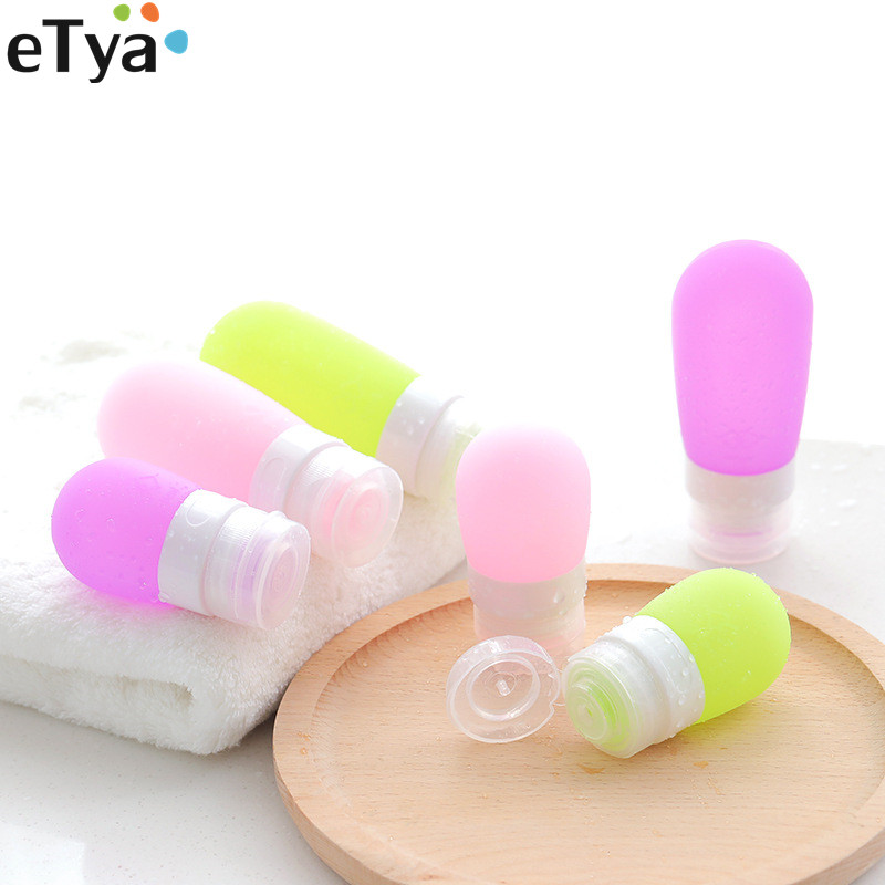 ETya Travel Women Men  Silicone Packing Bottle For Lotion Shampoo Bath Cosmetic Container Bag Box