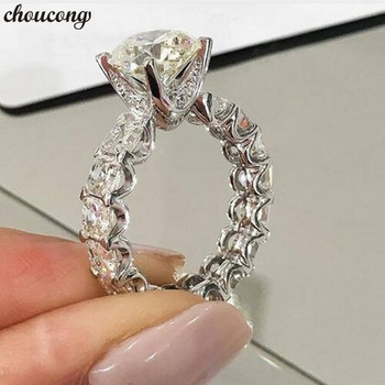 802f29962eca Choucong diseño único anillo de promesa 1ct AAAAA Zircon Cz 925 de plata  esterlina de compromiso de boda anillos para las mujeres hombres joyería