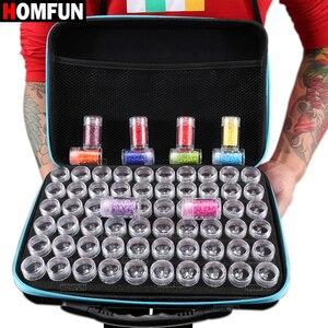 Image 2 - HOMFUN 60 בקבוקים יהלומי ציור תיבת כלי מיכל אחסון תיבת נרתיק מחזיק יד תיק רוכסן עיצוב עמיד הלם עמיד