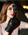 Genuine leather gloves winter women's thin sheepskin gloves Women thermal gloves with faux fur inside