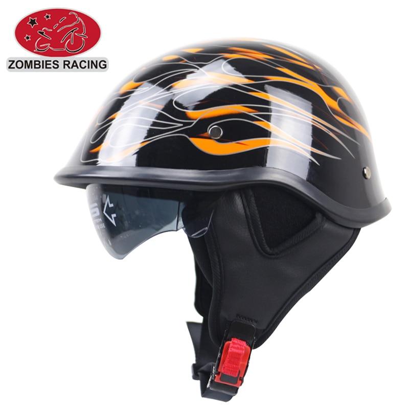 DOT Motorcycle helmet Matte Black German Half Face Helmet Chopper Cruiser Biker S,M,L,XL,XXL scooter helmet with sunglasses