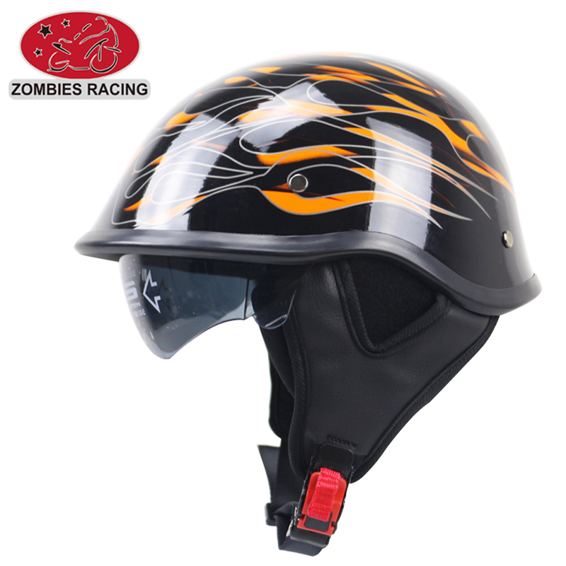 DOT Motorcycle helmet Matte Black German Half Face Helmet Chopper Cruiser Biker S,M,L,XL,XXL scooter helmet with sunglasses