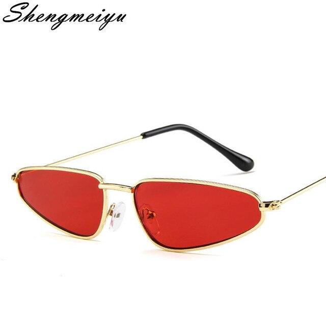 5818ae727 خمر صغيرة القط العين النظارات الشمسية النساء المعادن Cateye الشمس نظارات  UV400 العلامة التجارية مصمم ريترو