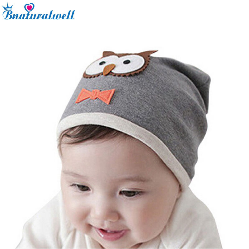 Bnaturalwell Children baby beanie hats Kids lovely owl Knitted hats Soft cotton Spring Autumn Hats Newborn Cap H592