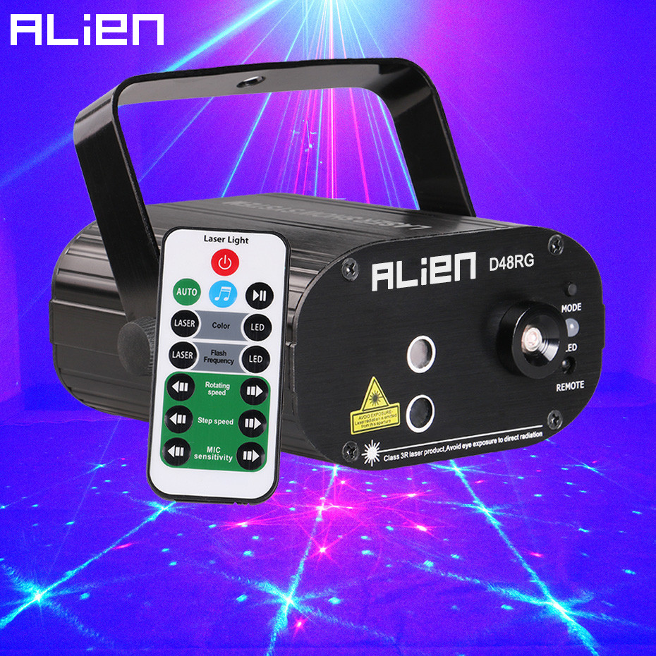 ALIEN Remote Mini Red Green 48 Patterns Stage Laser Projector Lighting Effect For Party Christmas Holiday Disco DJ With Blue LED alien 64 patterns rg remote laser stage projector lighting effect dj disco party christmas holiday with rgb led water wave light