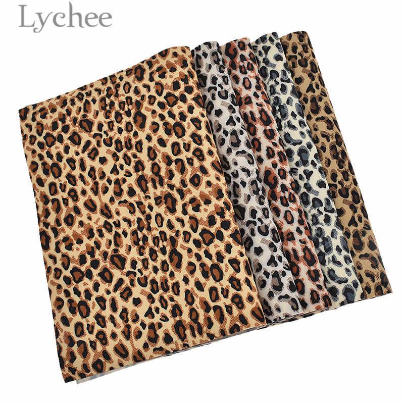 Lychee 1 PC A4 Leopard drukowane fałszywe skórzane tkaniny wysokiej jakości syntetyczny materiał skórzany DIY na odzieży torebka pasy