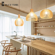 Wood Modern Led Pendant Light E27 Bubls Ceiling Lamps Fixture Kitchen Living Room Hanging Luminaria Suspension