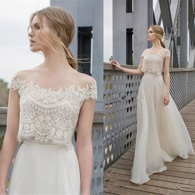 2 Piece Soft Beach Wedding Dress 2017 Strapless Tulle Gowns Backless Sweep Train Tailored Bridal
