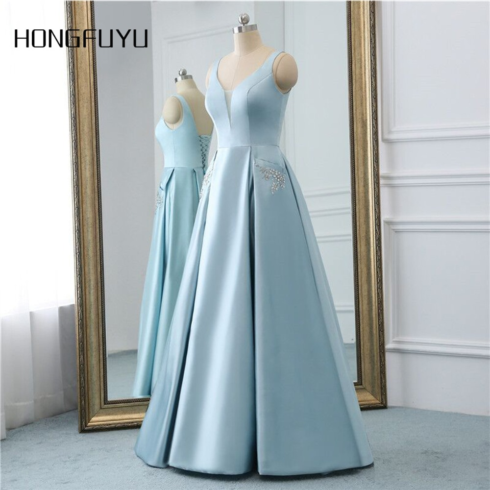Beauty Stain jupon Marriage Backless Pocket Long   Evening     Dresses   2019 Sleeveless Lace Up Floor Length   Evening     Dress   HFY101902
