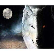 5D DIY Full Drill Round Diamond Embroidery Painting Moon Black and White Wolf Pattern Mosaic Stickers Cross Stitch