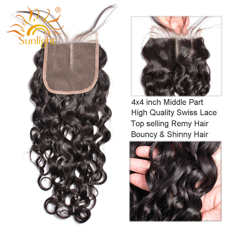 Sunlight Human Hair Lace Closure Brazilian Water Wave Remy Hair Natural Color 100% Human Hair Middle Part 4''x 4'' Free Shipping