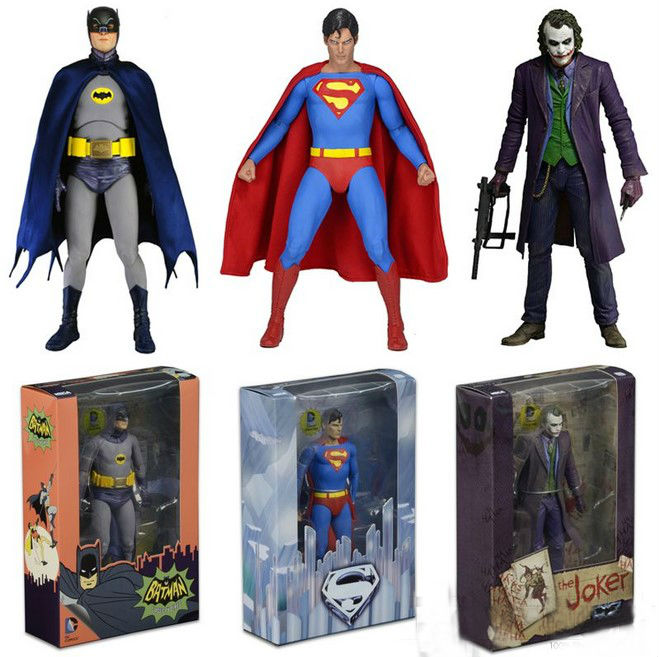 3Styles 718CM NECA DC Comics Superhero Batman Superman The Joker PVC Action Figure Collectible Toy neca dc comics superman vs batman joker 1 8 scale painted pvc action figure collectible model toy 18cm kt2187