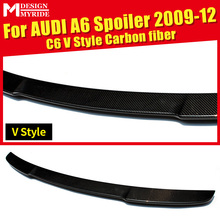 For Audi A6 A6a A6Q High-quality Carbon Rear Spoiler A6 C6 V Style Coupe Carbon Rear Spoiler Rear Trunk Wing car styling 2009-12 for audi a6 c7 4g carbon rear spoiler s6 style a6 car carbon fiber rear spoiler rear trunk wing gloss black finish 2012 up